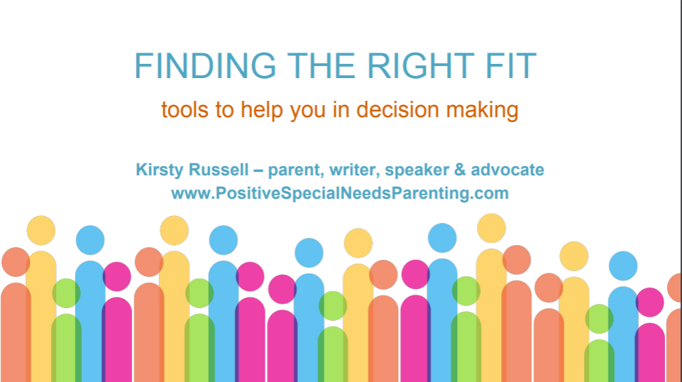 Finding the Right Fit Workshop Screenshot - positivespecialneedsparenting.com