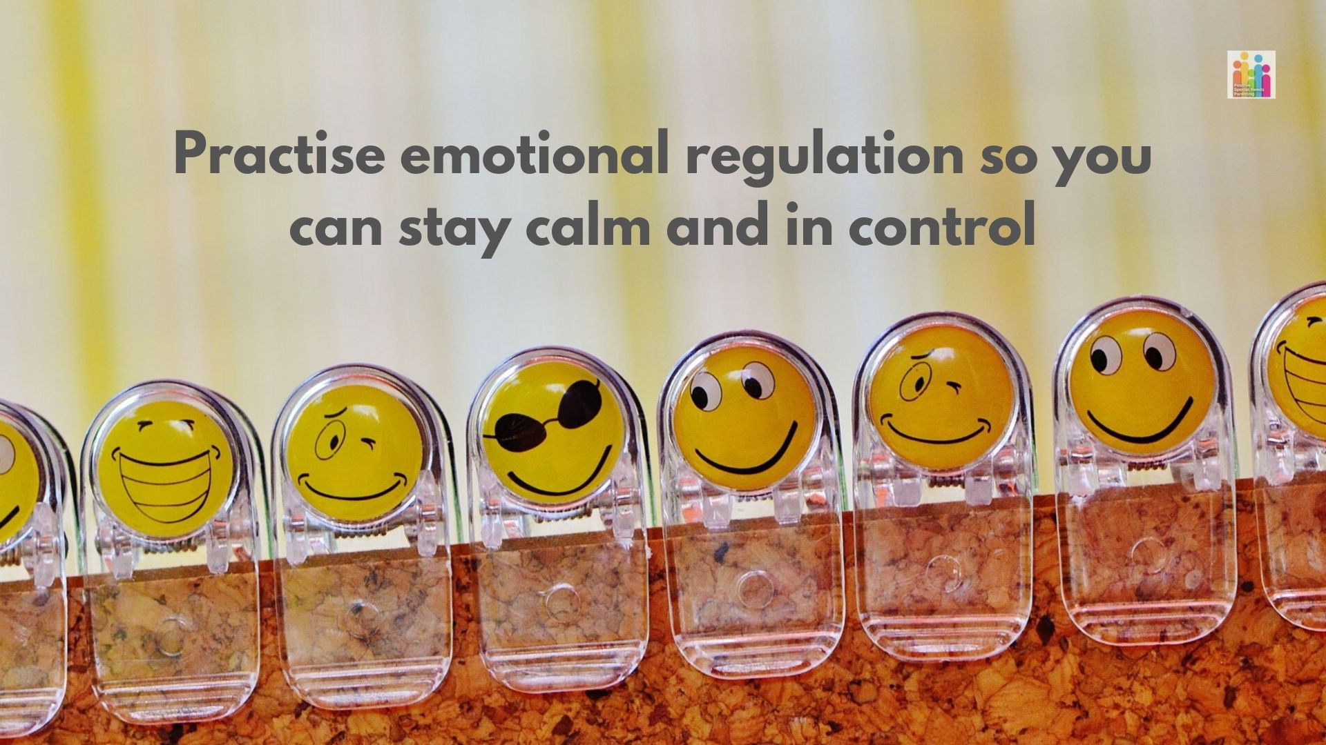 "Image of 8 clear clips on a corkboard, each clip featuring a yellow emoji face wearing a different expression. Text reads ""practise emotional regulation so you can stay calm and in control."""